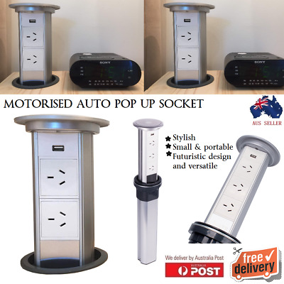 Motorized Automatic Pop Up 3 / 2 Socket Plug USB Power Point Kitchen Home Office