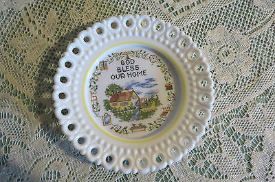 """vintage Westmoreland Glass """"God Bless Our Home""""  Plate"""
