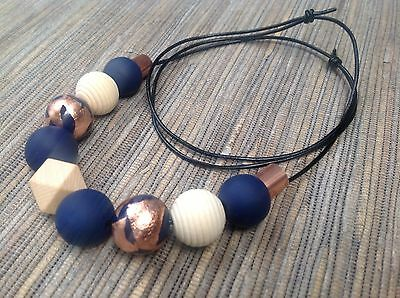 Polymer Clay Bead Necklace Navy And Rose Gold