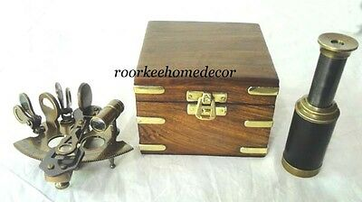 Collectible Antique Finish Brass Sextant With Box Awesome Style W FREE TELESCOPE