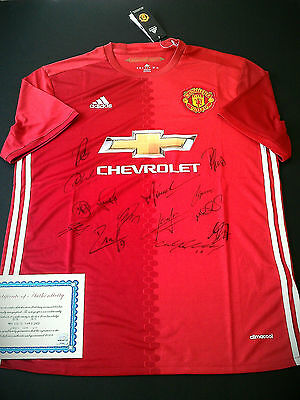 New season 2016/17 team signed Manchester United F.C. jersey shirt with COA.