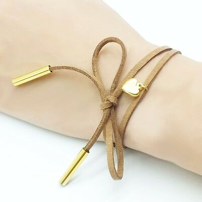 NEW Long Leather Rope Bracelet Gold Love Heart Pendant Black Cord Necklace Punk