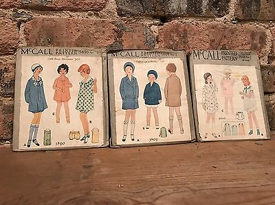 1930s Vintage McCalls Childs Sewing Pattern Lot Bloomers Coat Dress Panties