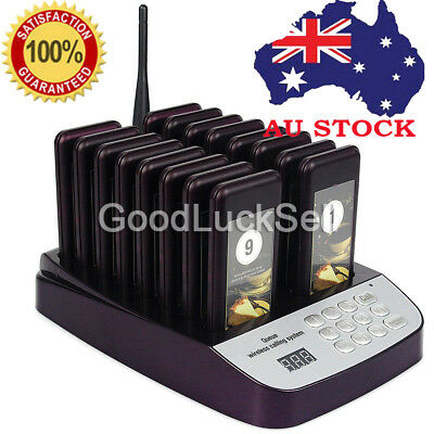 AU 16 Restaurant Coaster Pager Guest Call Wireless Paging Queuing Calling System