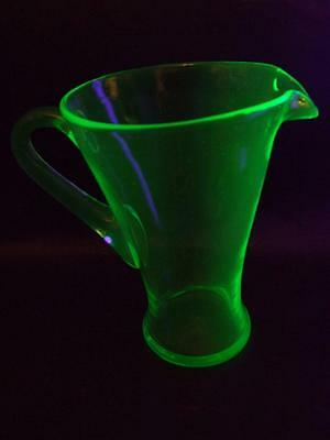 Vintage  Art Deco Tall Uranium / Depression Glass Jug 1930's