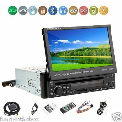 "7""Single 1 Din In-Dash Car CD DVD Player Radio Stereo With IR iPod  Bluetooth"