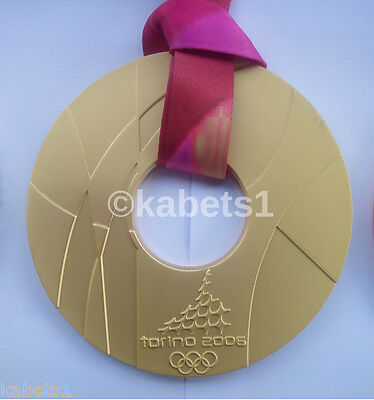 Large Sized Olympic Gold Medal 2006 Winter Olympics Torino With Ribbon!