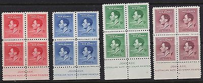 New Guinea 1937 Coronation Ash Imprint Blocks Of 4 Mint unhinged