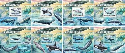 Z08 Imperforated BURdelux02 BURUNDI 2012 Whales 8 x s/s MNH