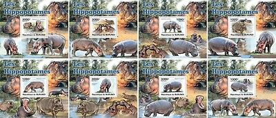Z08 Imperforated BURdelux11 BURUNDI 2012 Hippopotamus 8 x s/s MNH