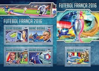 Z08 IMPERFORATED GB16504ab GUINEA-BISSAU 2016 Football 2016 MNH Set