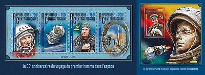 Z08 Imperforated CA16102ab CENTRAL AFRICA 2016 Space Gagarin MNH Set