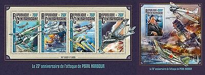 Z08 Imperforated CA16110ab CENTRAL AFRICA 2016 Pearl Harbour MNH Set