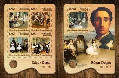 Z08 IMPERFORATED CA16703ab CENTRAL AFRICA 2016 Edgar Degas MNH Set