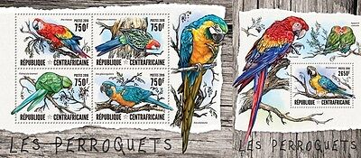 Z08 IMPERFORATED CA16412ab CENTRAL AFRICAN REPUBLIC 2016 Parrots MNH Set