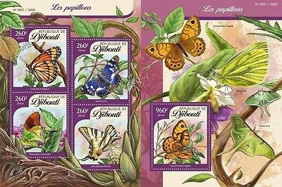 Z08 DJB16105ab DJIBOUTI 2016 Butterflies Imperforated Set