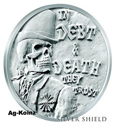 1 oz 2017 Debt & Death V3 Half Proof - Death of the Dollar # 2 Silver Shield AND
