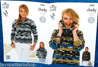 Ladies Chunky Knit Easy Knit Sweater & Cowl Knitting Pattern 32 - 42 Inch