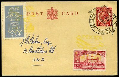 7th May 1934 AIR POST EXHIBITION KGV 1d Post card Yellow Apex cachet