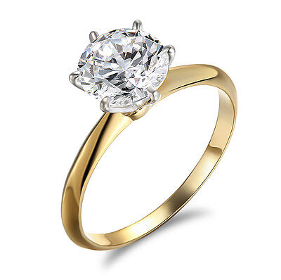 Engagement Ring Round Cut Solitaire Wedding Bridal 14k Yellow Gold ebay Charity