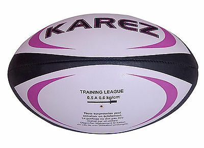 Karez PU Leather Hand Stitch 2 Ply White Promotion Rugby Ball,4 Panel- Size 5