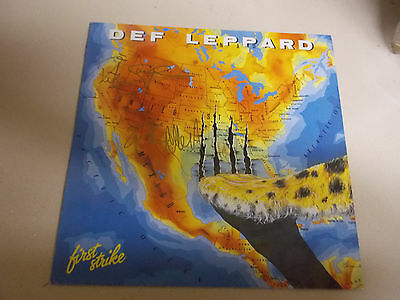 Def Leppard First Strike Signed Very Rare LP