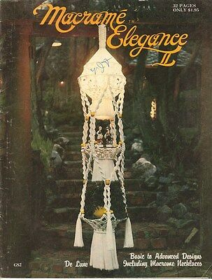 "Vintage 1976 Macrame Pattern Book ""macrame Elegance Ii "" There Are 22 Projects"