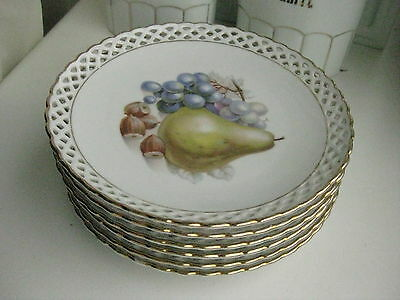 Set 6 Schumann porcelain  hand painted reticulated saucers Fruits