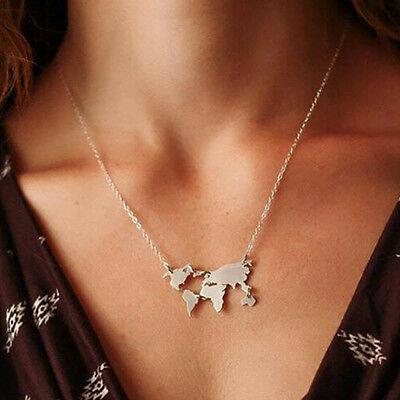 World Map Pendant Choker Statement Necklace Collar Chain Travel Abstract Jewelry