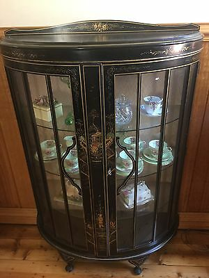 Antique Japanese Black and Gold Hand Painted China or Crystal Cabinet