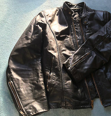 Original Vintage 'Cafe Racer' Black Leather Jacket * Size Medium 38/40 *