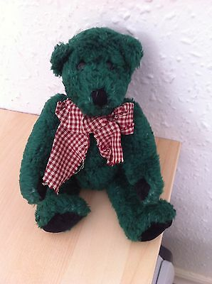The Boyds Collection Green Jointed Bear with check scarf - 22cm - from 1985-1995