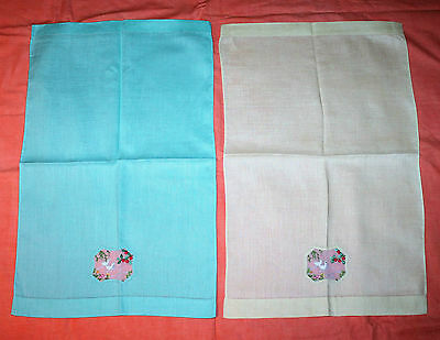 2 Vintage Linen Embroidered Tray Cloths