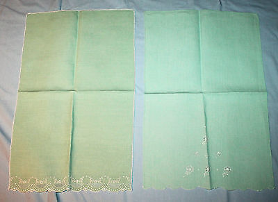2 Vintage Green Linen Embroidered Tray Cloths