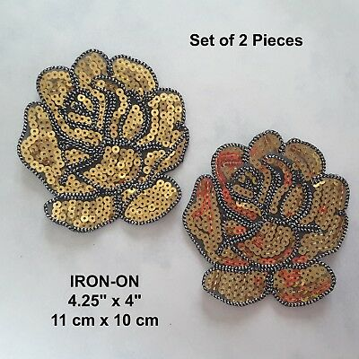 Set of 2 Black Roses Sequins Flower Embroidered Patch Jeans Iron-on Applique