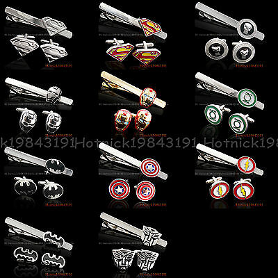 SUPER HERO MENS WEDDING NOVELTY SUPERHERO CUFFLINKS TIE CLIP In Stock