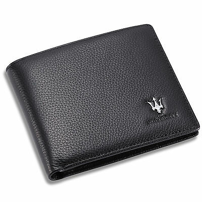 new Maserati Black Bifold Wallet Genuine Calfskin Leather with 6 Credit Card Men