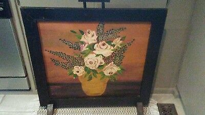 Fireplace screen antique hand-painted vintage floral