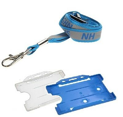 Reflective NHS Safety Breakaway Lanyard with Clear & Light Blue ID Card Holder