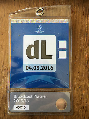 Media Press Pass Ticket Real Madrid Manchester City Champions League 2015 2016