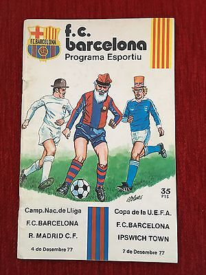 Programme Official Barcelona Ipswich Town Uefa Cup 1977 1978