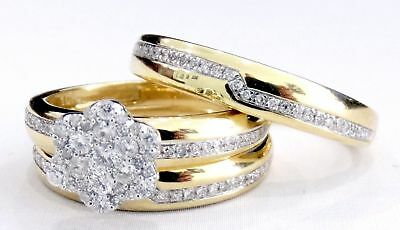 14k Yellow Gold Diamond Wedding Rings Trio Set His Or Her Engagement Bridal Band