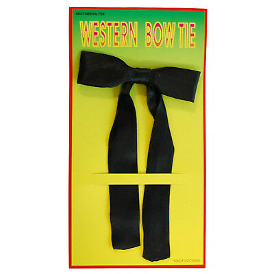 Western Bow Tie Black Ribbon on Clip Mens Fancy Dress Accessory Cowboy Wild West