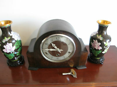 Heavy Antique 1930 Quarter Westminster Chimes 8 Day Mantel Clock Working