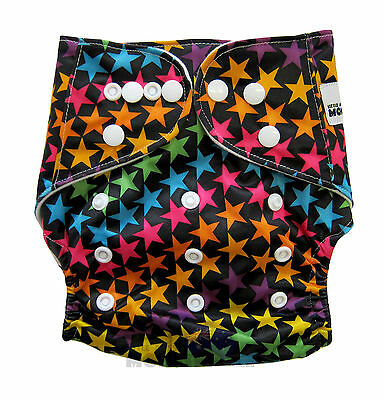 New Reusable Modern Cloth Nappy (MCN) + FREE insert – Black with Colourful Stars