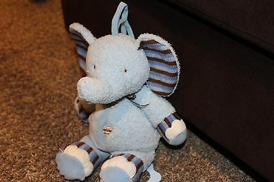 Just One Year Elephant MUSICAL Crib Pull Toy Plush Blue Brown Stripes Carters