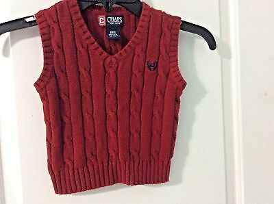 CHAPS Infant Baby Boys 24 Month Red Sweater Vest NWOT Ralph Lauren Cableknit