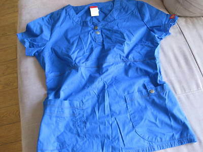Dickies Women's scrub top blue Uniform Top Medical  size medium