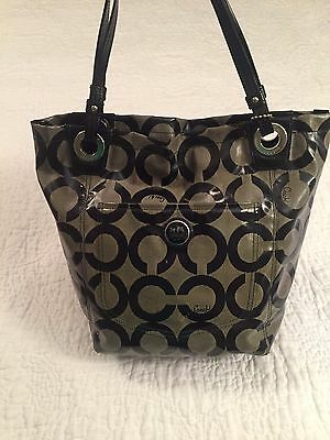 COACH Gray/Black Signature Logo Vinyl Tote Shoulder Handbag Purse