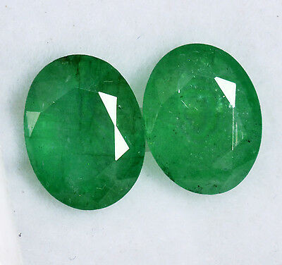 3.48 CTS Certified Natural Emerald Oval Cut 9x7 mm Pair Green Loose Gemstones